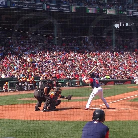 Batter up - Favorite sports request. Fenway park Boston Red Sox baseball baseball diamond batter catcher umpire sport professional sport crowd fans photo