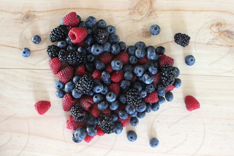 berry heart berries raspberries blueberries blackberries photo