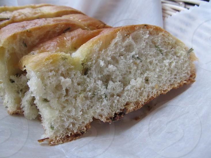 Foccaccia bread slices in basket photo