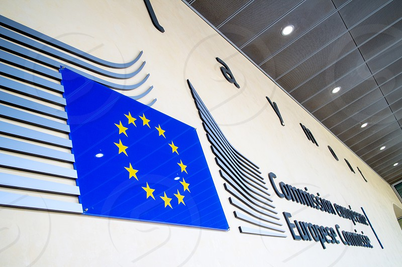 Brussels Belgium- 24 February 2014 : Logo of the European Commission building in Brussels. photo