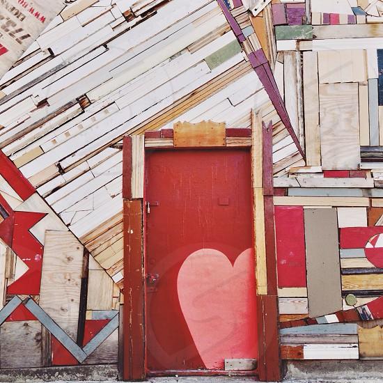 brown pink heart printed door  photo