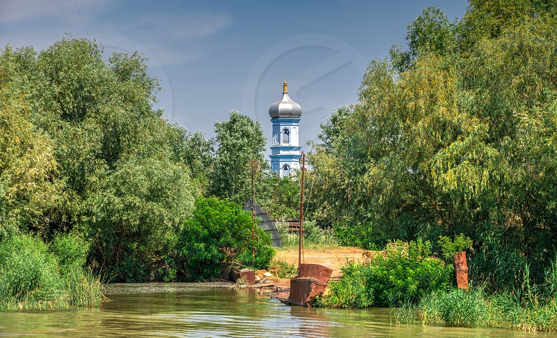 The village of Vilkovo in Odessa region Ukraine. The beginning of the river walk to the Danube Delta photo