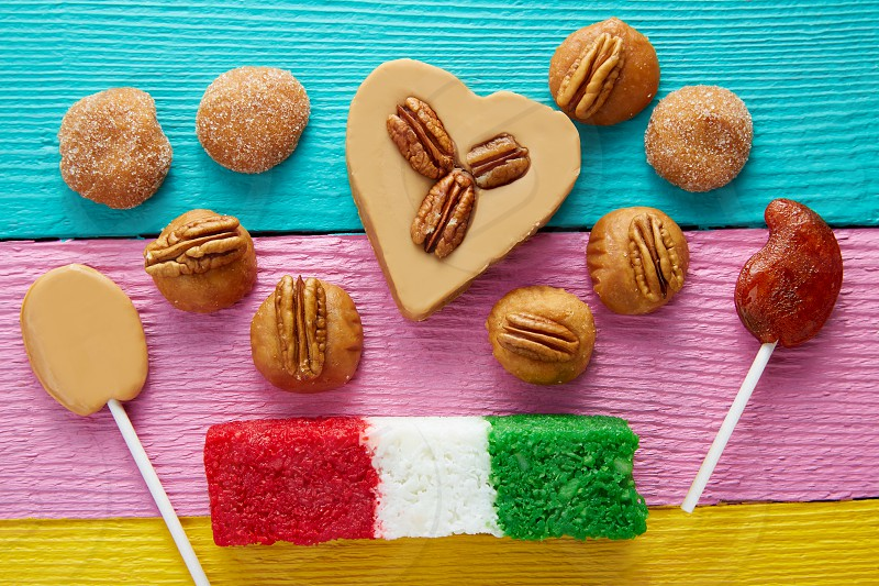 Mexican candy sweets cajeta pecan and coconut flag photo