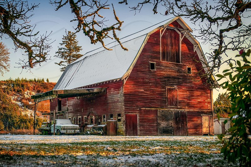 barn snow  photo