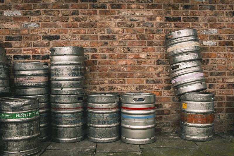 Beer kegs behind the pub. photo
