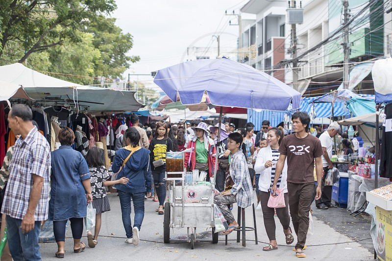 the streetmarket at the Phimai festival in the Town of Phimai in the Provinz Nakhon Ratchasima in Isan in Thailand.  Thailand Phimai November 2017 photo