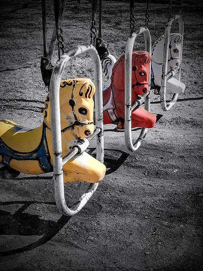 Playground horse pop of color spring photo