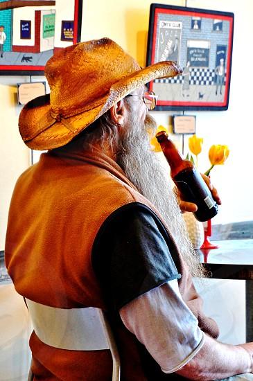 man hippie beer beard hat seattle cafe hipster drink photo