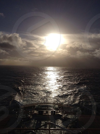 Off the back of the Queen Mary II as I traveled from New York New York to Southampton England. photo