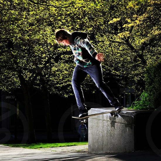 Dominic DeVries puts down a deadly downhill back tailslider.. Spring 2013 photo