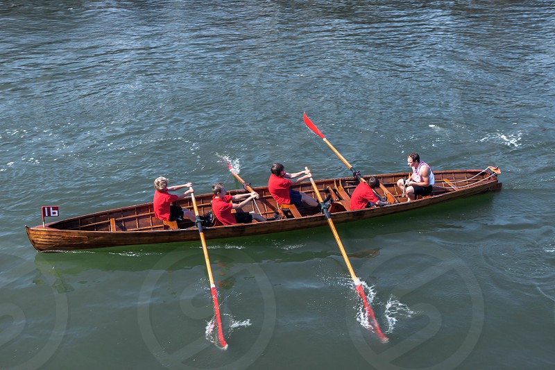 Exhausted at the End of a Rowing Boat Race in Whitby photo