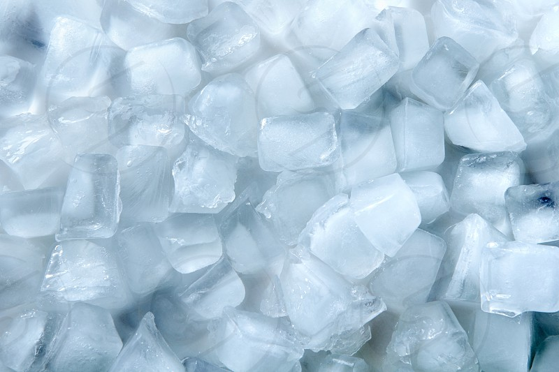 Close-up cubes of cold ice for a summer drink. Pattern of ice. Flat lay photo