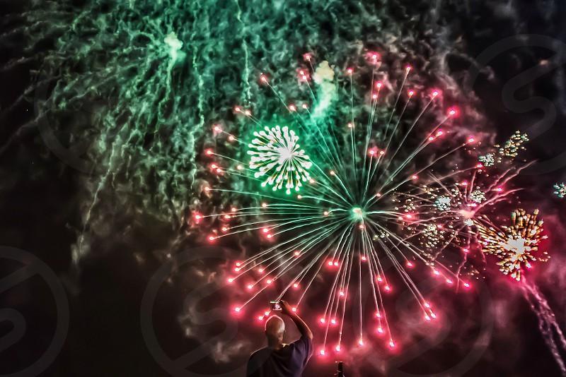 Fireworks celebrating bright  photo