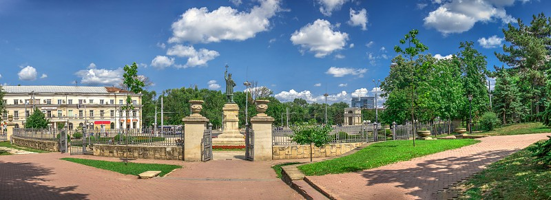 Chisinau Moldova – 06.28.2019. Monument to Stefan cel Mare in the center of Chisinau capital of Moldova on a sunny summer day photo