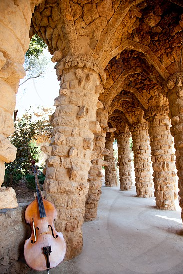 Arcade of masonry stone columns in Park Guell Barcelona of Gaudi modernism photo