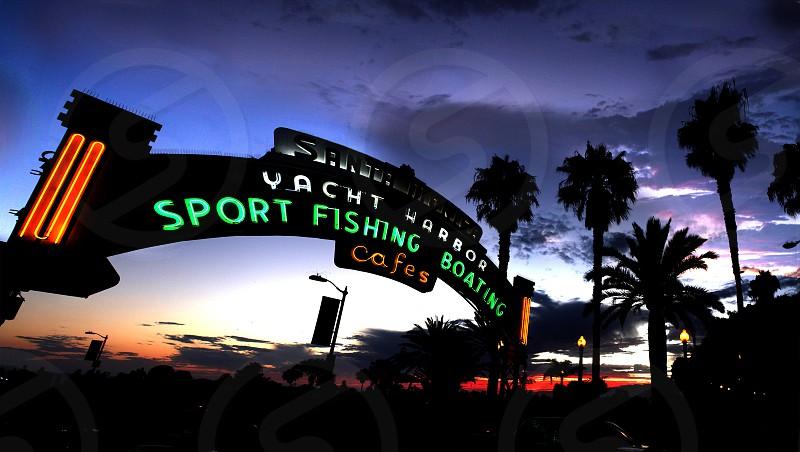 santa monica beach yacht sign photo