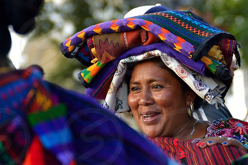 Authentic Guatemalan native women wearing their typical costumes photo