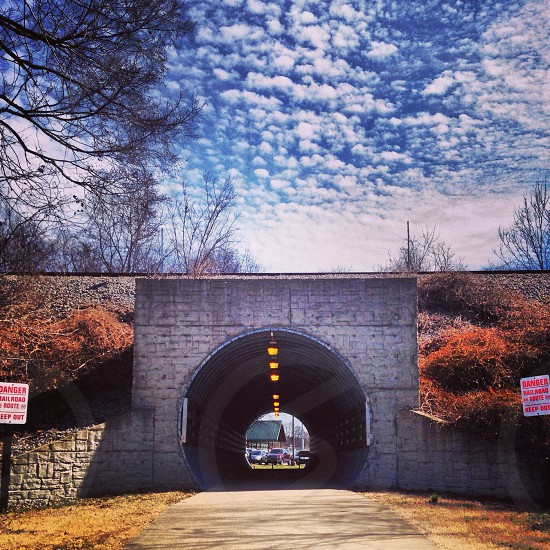 tunnel and blue sky photography  photo