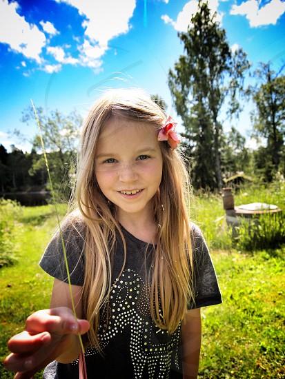 Summer straw happy smile girl child kid daughter Sweden photo