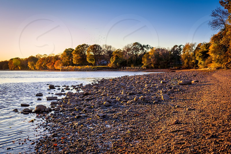 Late day shot of the Delaware River from Neshaminy State Park in Pennsylvania. photo