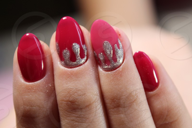 Youth manicure design red and silver photo