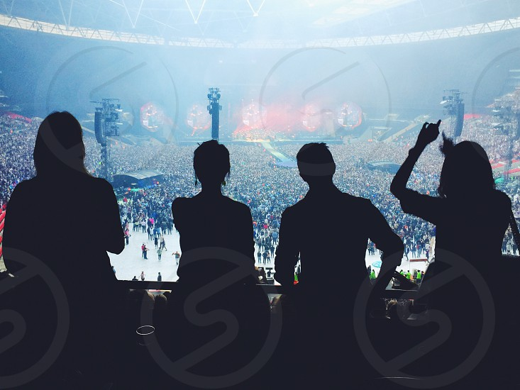Concert stadium summer silhouette Coldplay Wembley  photo