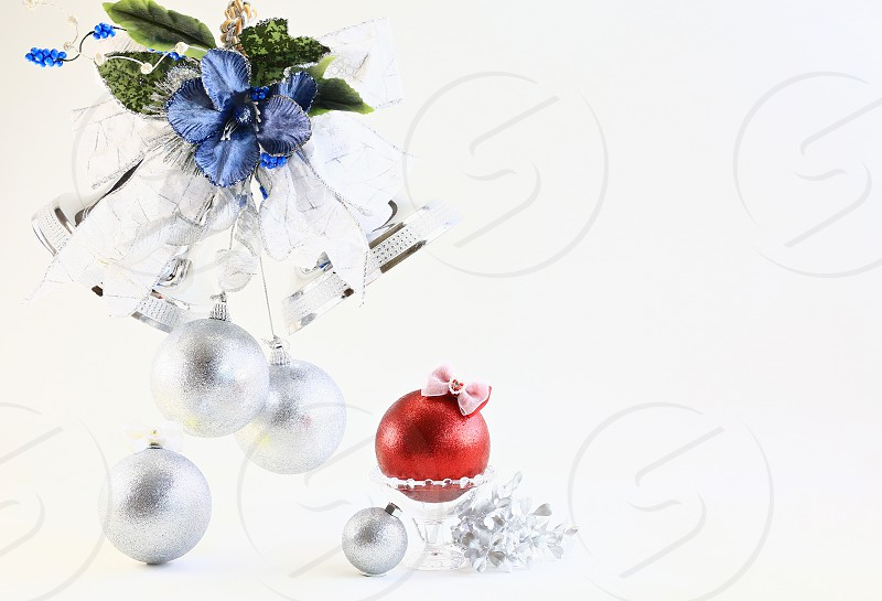 'Christmas Icons' (3): Bell Blue Christmas Bell Glass Gold Leaves Ornaments Red Ribbon Silver White Background Lovely Simple photo