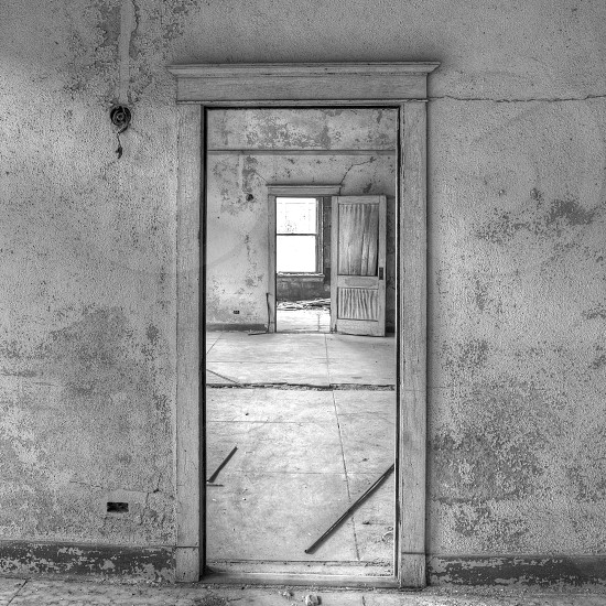 Doors in abandoned hotel photo