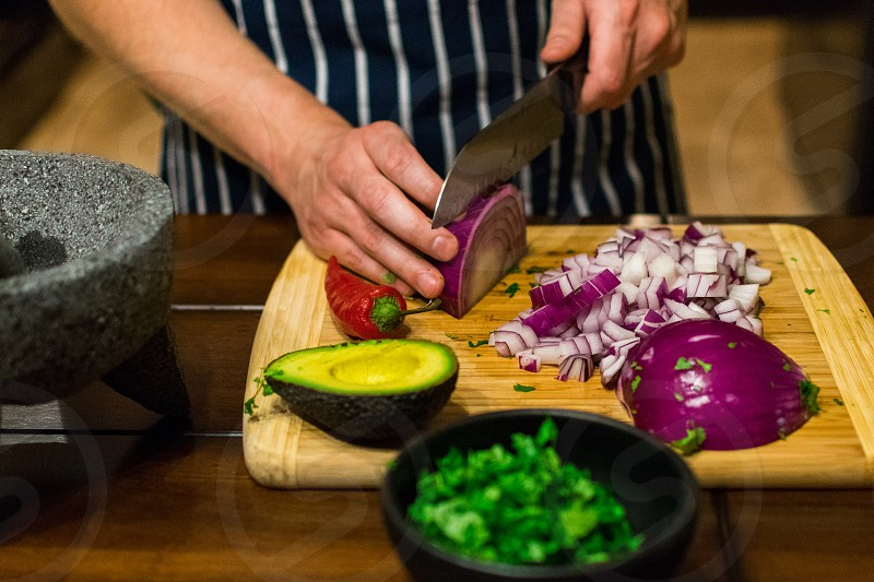Making homemade guacamole at home  photo