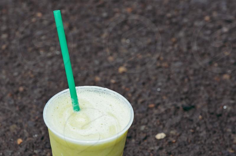 Morning breakfast smoothie kale banana photo