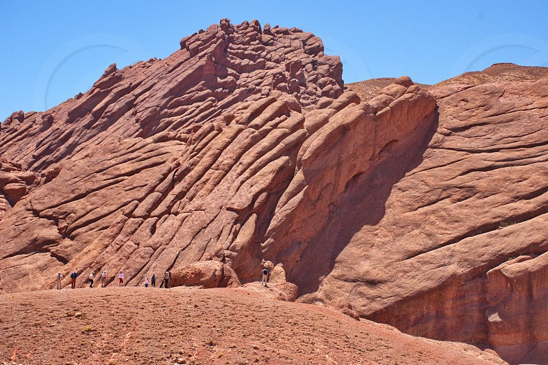 Hiking through Doigts de singe (Monkey's fingers) canyon in Morocco photo