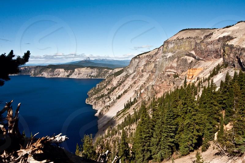 beige rock mountain view photo
