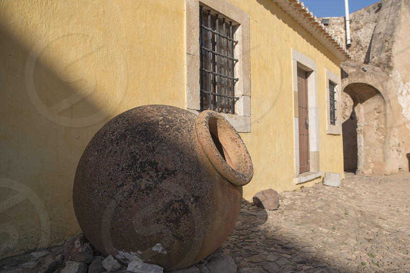 a pot at the Castilo in the town of Castro Marim at the east Algarve in the south of Portugal in Europe. photo
