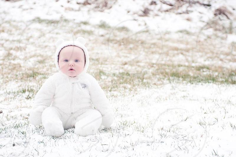 winter childhood snow baby blue eyes photo