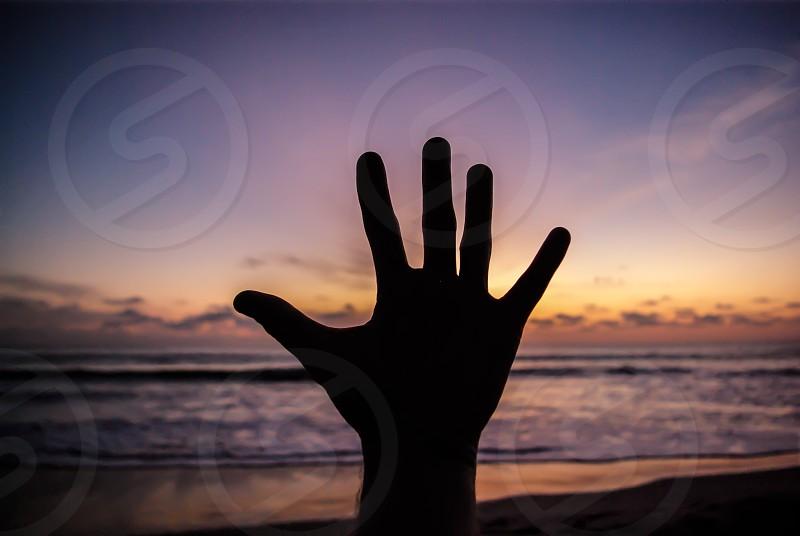 Sunset Hand Beach Silhouette photo