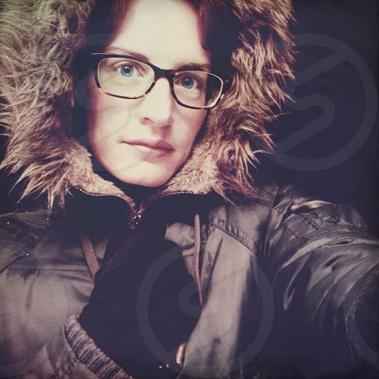 womens brown nylon fur lined hoodie jacket photo