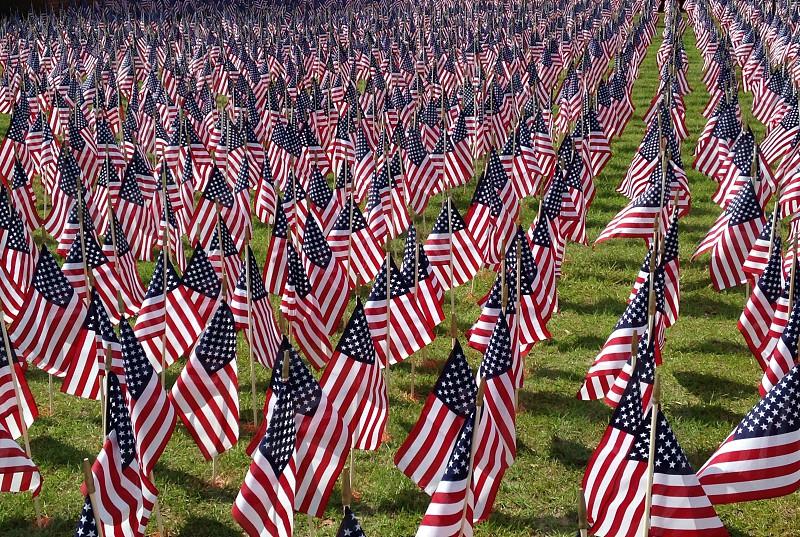 U.S. flags on screen photo