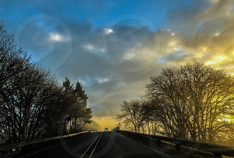 Sunrise road fog photo