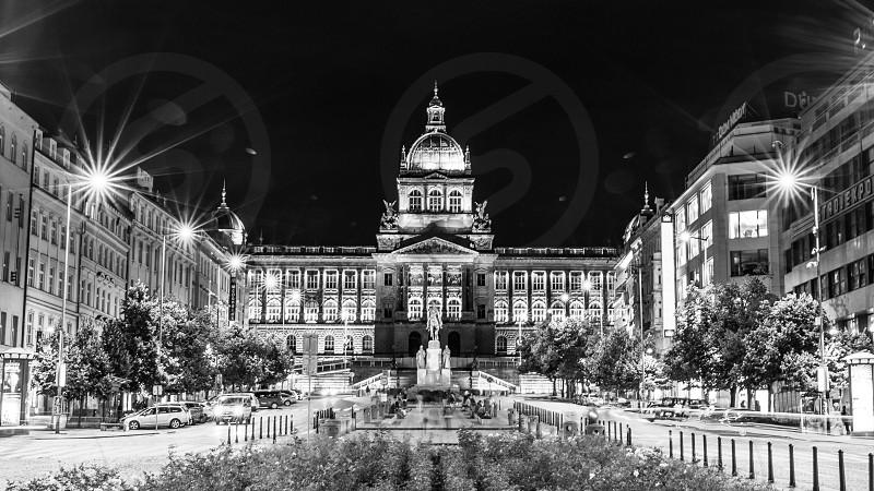 Prague Vaclavske namesti square Czech Praga Praha Black and white B&W night city urban street photo