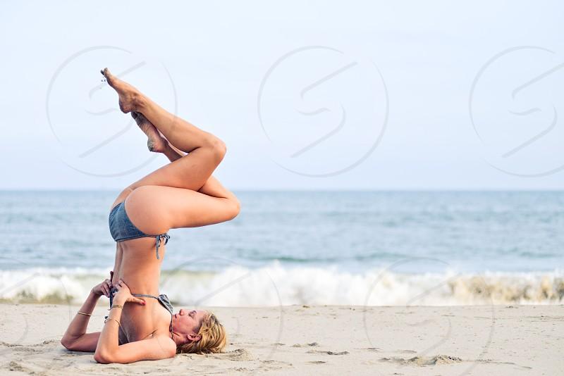 women's blue bikini photo