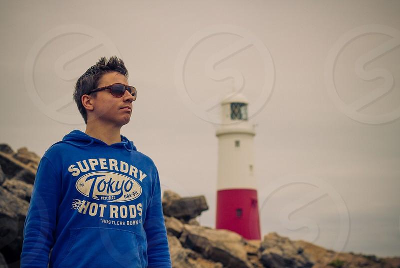 men's blue superdry hoodie photo