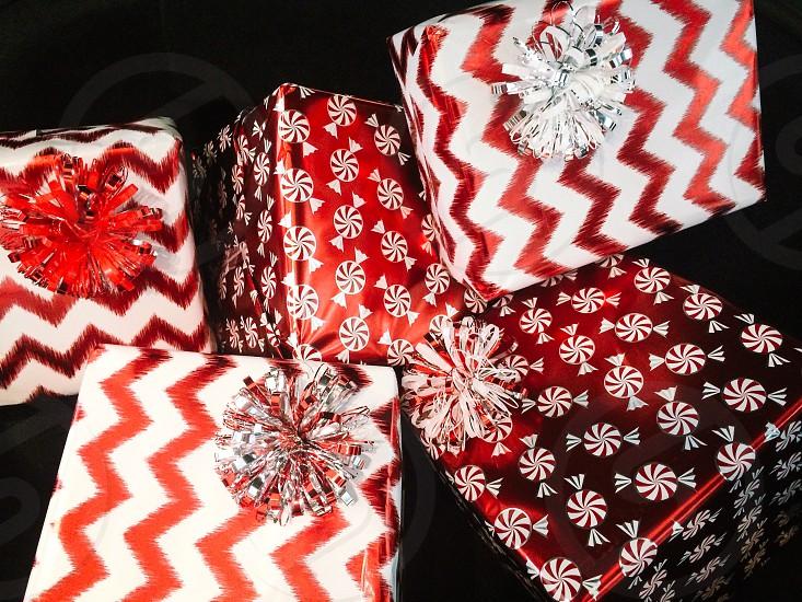 white and red chevron gift box photo