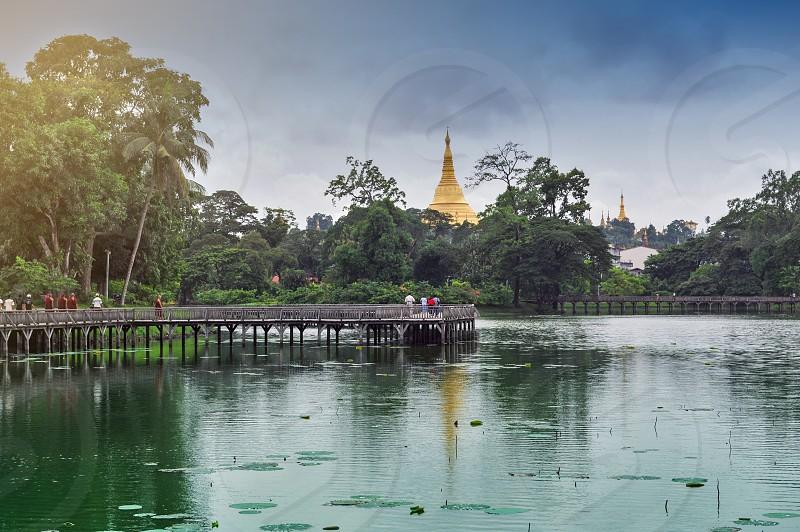 Kandawgyi Lake located east of the Shwedagon Pagoda in Yangon Myanmar photo