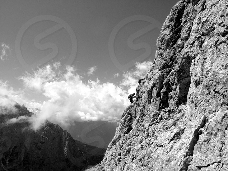 mountain b/w dolomiti hard work via ferrata s.o.s.a.t.  friends way to live photo