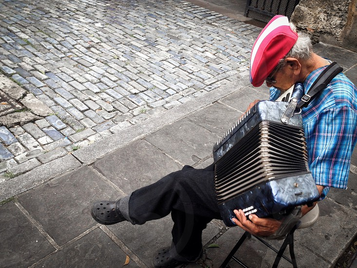 Old musician in Old San Juan Puerto Rico photo