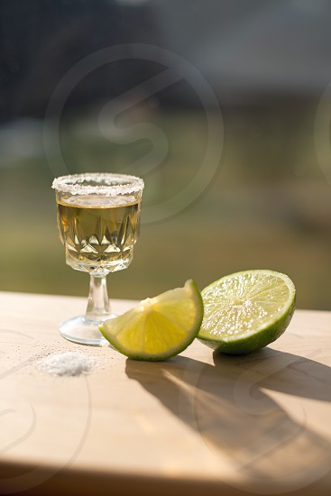 Tequila Shot with Lime and Salt photo