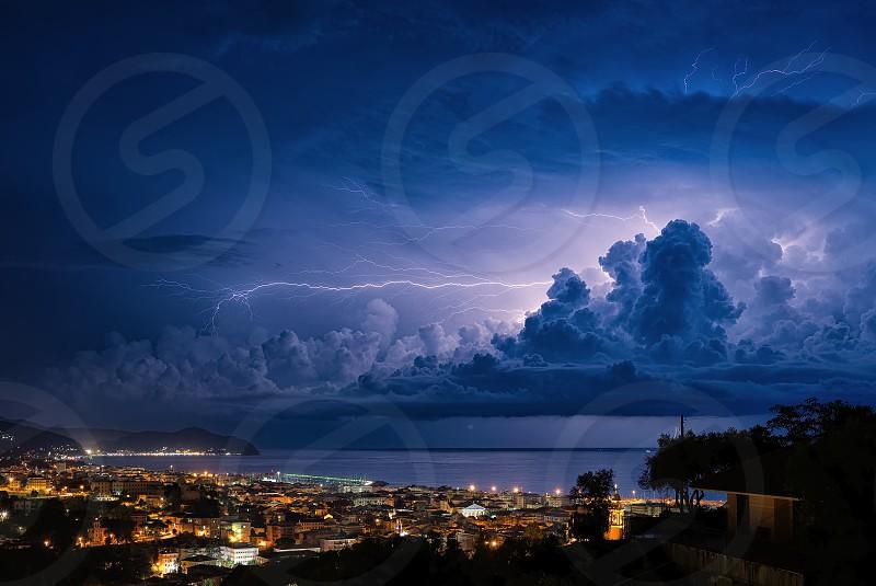 Lightning on the Ligurian Sea Tigullio gulf - Chiavari Lavagna and Sestri Levante photo