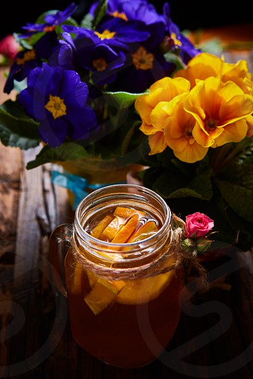 Ginger tea with orange spices and honey. Shallow dof photo