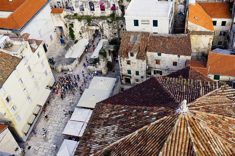 Overhead view of Split Croatia from atop Diocletian's Bell Tower photo