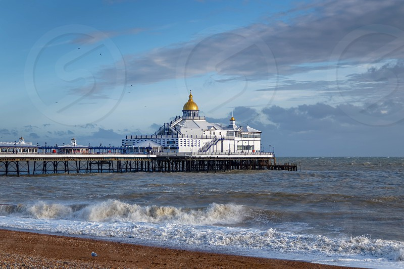 EASTBOURNE EAST SUSSEX/UK - JANUARY 7 : View of Eastbourne Pier in East Sussex on January 7 2018 photo